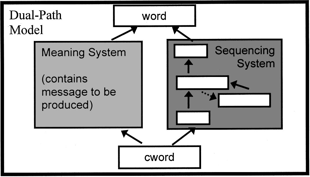 BECOMING SYNTACTIC 237 Figure 2. Two pathways in the model: a meaning system and a sequencing system. The sequencing system is an simple recurrent network.