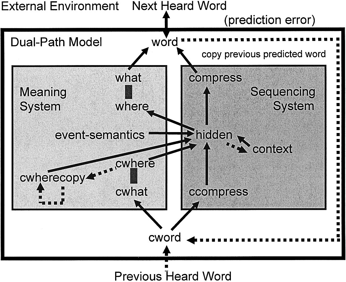 BECOMING SYNTACTIC 239 Figure 7. Figure 5). Word-to-meaning component (bottom of meaning system in Figure 5. Dual-path model and environment; ccompress and compress are sets of compression units.