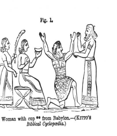 6 ** The shape of the cup in the woman's hand is the same as that of the cup held in the hand of the Assyrian kings; and it is held also in the very same manner. - See VAUX, pp. 243, 284.