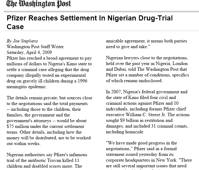 Clinical'Trial'Li+ga+on'in'Nigeria' The' Trovan 'Case'(2009) Reference:)The)Washing)Post)4 th
