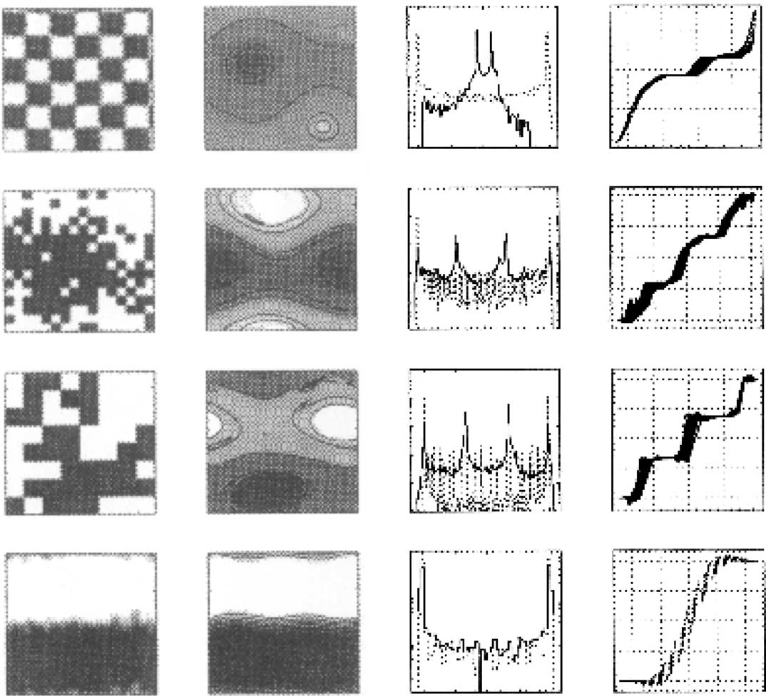28 P. Tabeling / Physics Reports 362 (2002) 1 62 Fig. 29. Oscillatory states found as the nal states in simulations initiated with two-levels vorticity patterns.