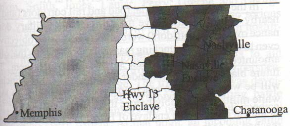 Enclaves in Tennessee There's an interesting situation developing in western Tennessee.