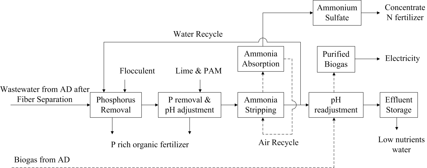 The effluent is then sent to a closed-loop stripping tower, where ammonia is absorbed through addition of sulfuric acid to make a concentrated liquid ammonia sulfate for export off the farm.