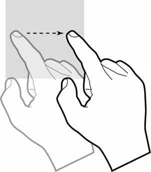 Slide Touch and hold Slide your finger lightly on the screen in an up/down or left/right direction. This gesture is primarily used for scrolling or panning.