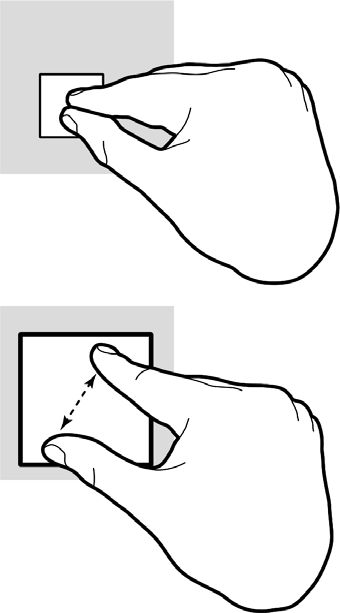 For example: Touch and hold an item until it lifts to drag it into the Spot. Touch and hold a text box to magnify it for positioning the cursor.