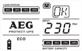 "7.3 UPS operating states Mains mode ECO mode Mains mode AVR mode Abbreviation for ""Efficiency Corrective Optimiser"" In this operating mode (UPS input voltage below ± 10% of U rated), the electrical"