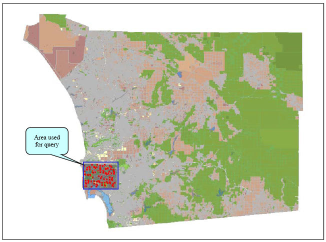 9 Platform Performance Figure 9-26 shows the data extent of the San Diego geodatabase used in performance validation testing.