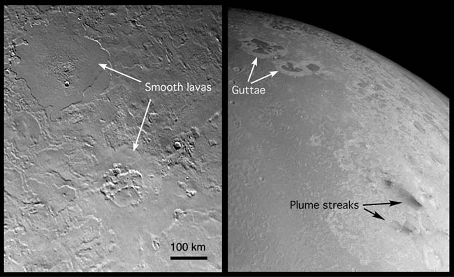 Figure 13. A wealth of probable cryovolcanic features is found even over a relatively small region of Triton. Left: This view shows smooth, frozen lavas filling shallow circular depressions.