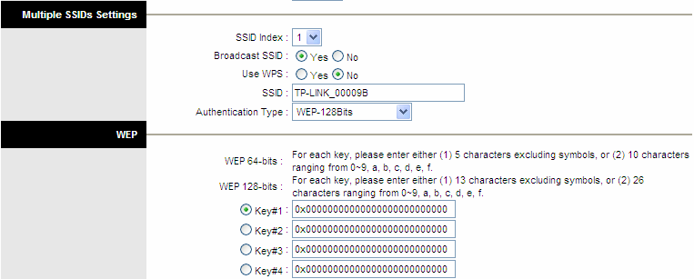 Figure 4-16 2) WEP-128Bits To configure WEP-128Bits settings, select the WEP-128Bits option from the drop-down list. The menu will change to offer the appropriate settings.