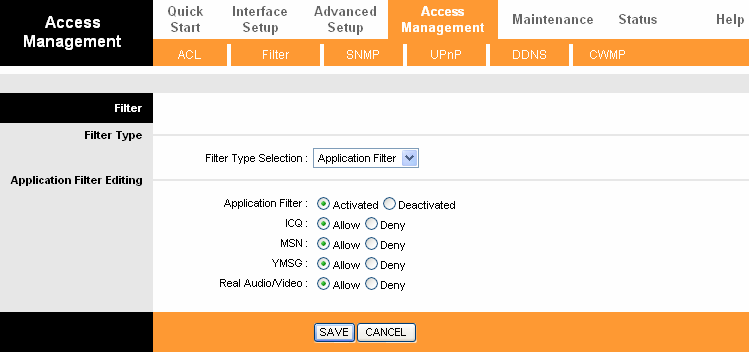 4.5.2.3 Application Filter Select Application Filter as the Filter type (shown in Figure 4-41), and then you can configure the filter rules based on application.
