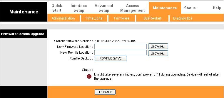 Figure 4-52 To upgrade the router's firmware, follow these instructions below: Step 1: Type the path and file name of the update file into the New Firmware Location field.