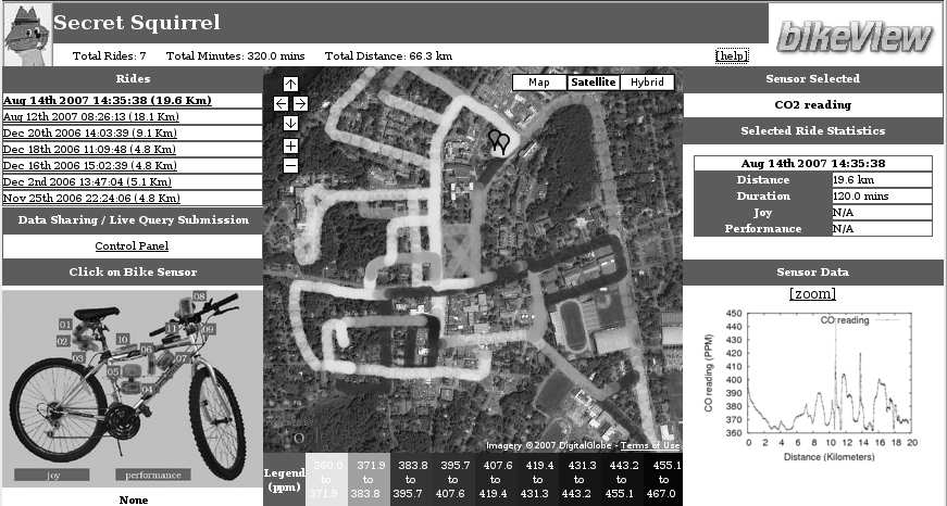 Figure 7: BikeView portal [4] for data display and query submission. A CO 2 map of Hanover, NH, USA streets on a summer weekday afternoon is shown.