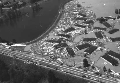 Snowmelt and rainfall can combine to produce devastating floods. The Columbia River community of Vanport, Oregon, was destroyed by a flood in 1948. It was never rebuilt.