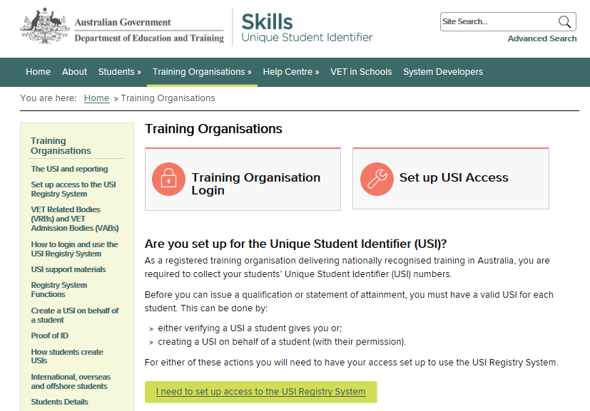 Next you will need to select the Training Organisation Login tile 4.2 Terms and Conditions Before you login you will need to agree to the Terms and Conditions.