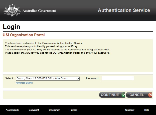 You are required to identify your organization and enter your AUSkey password.