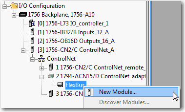 Right-click the communication network and choose New Module. 4. Add the communication adapter for the distributed I/O platform that you are using. 5.