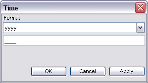 To enter a new time period, click New on the toolbar to open the Time window (Fig. 3.