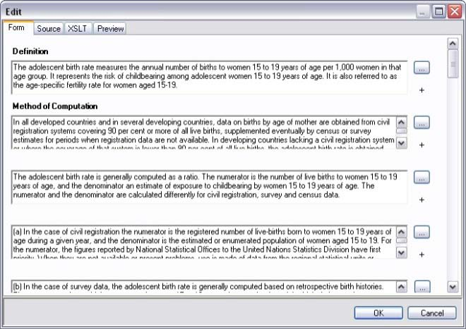 Entering or editing metadata using the Form tab in the XML editor Click Edit on the toolbar to launch the XML editor, which contains four tabs: Form, Source, XSLT and Preview (Fig. 6.