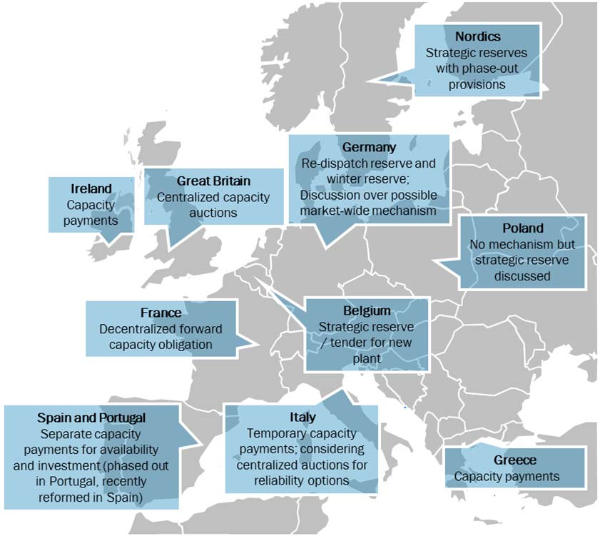 The Crisis of the European Electricity System Figure 15 Map of capacity mechanisms in Europe Perhaps more importantly, a number of recent market reforms to put in place supplementary arrangements