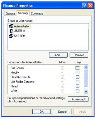 Example: This example illustrates the Security window for a folder in a MS Windows file system. The list of Groups and Users indicate who can access the folder.