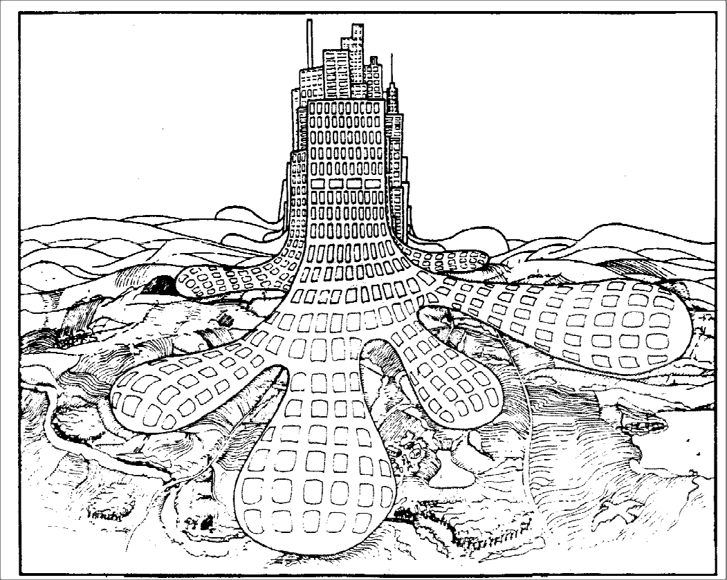9 (1969), the modern city is an ecological desert, hostile to human and other forms of life, where nothing grows. FIGURE 10. The city devours the countryside. (Source: Gruen, 1973).