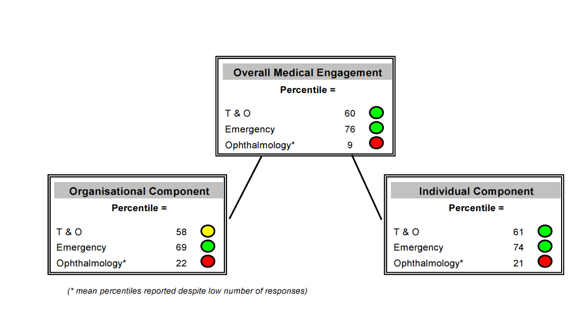the other two sub-samples, the endorsement levels for medical staff from ophthalmology are low on both the organisational and the individual component.