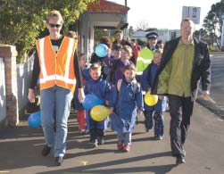 Walking school buses and school travel plans encourage children out of cars in North Shore City Travel to education makes up around 40% of morning peak trips in Auckland.