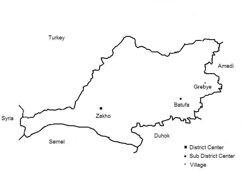 DUHOK GOVERNORATE In Duhok Governorate, Semel, Zakho, and Amedi Districts lie immediately south of the Turkish border. CPT interviewed people in Zakho and Amedi Districts.