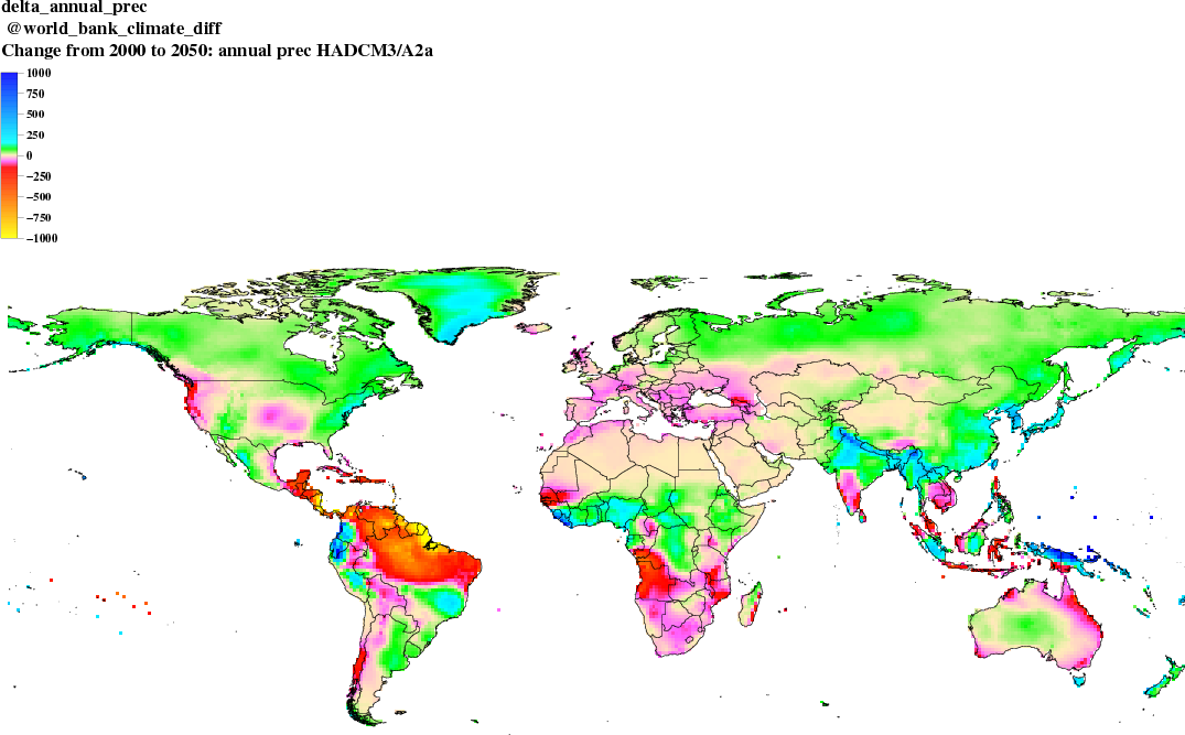 Figure 9 provides a global overview of precipitation using the Hadley climate model. Hadley projects very high maximum temperatures and also severe precipitation limitations for some regions.