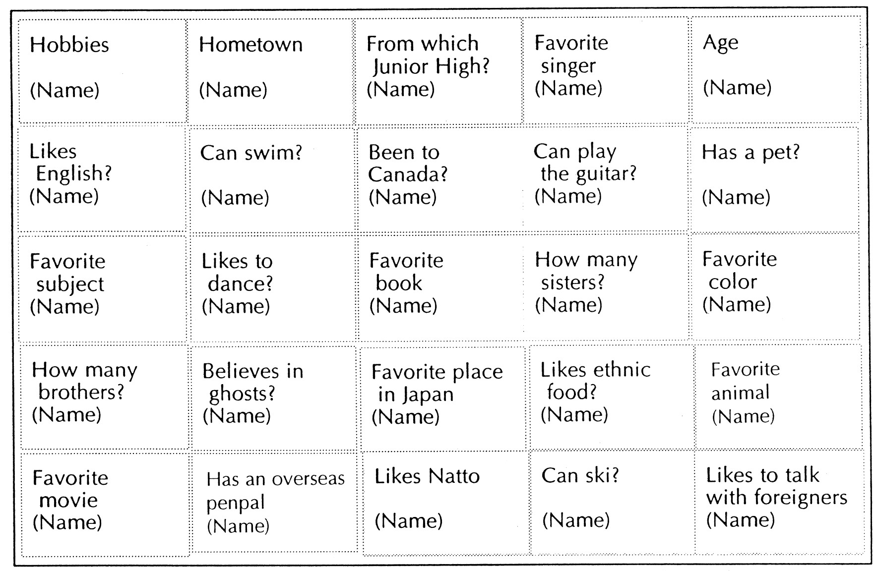 Listening Activities 192 BINGO VARIATION: INTRODUCTION BINGO Here s a chance for students to stretch their legs by moving around. This is also a great way to get to know their classmates!