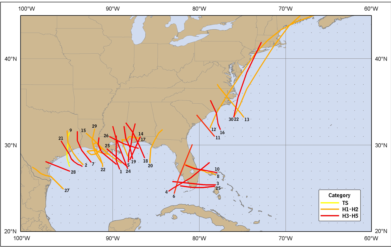 Figure 2. The 30 costliest tropical cyclones to strike the United States, 1900-2010.