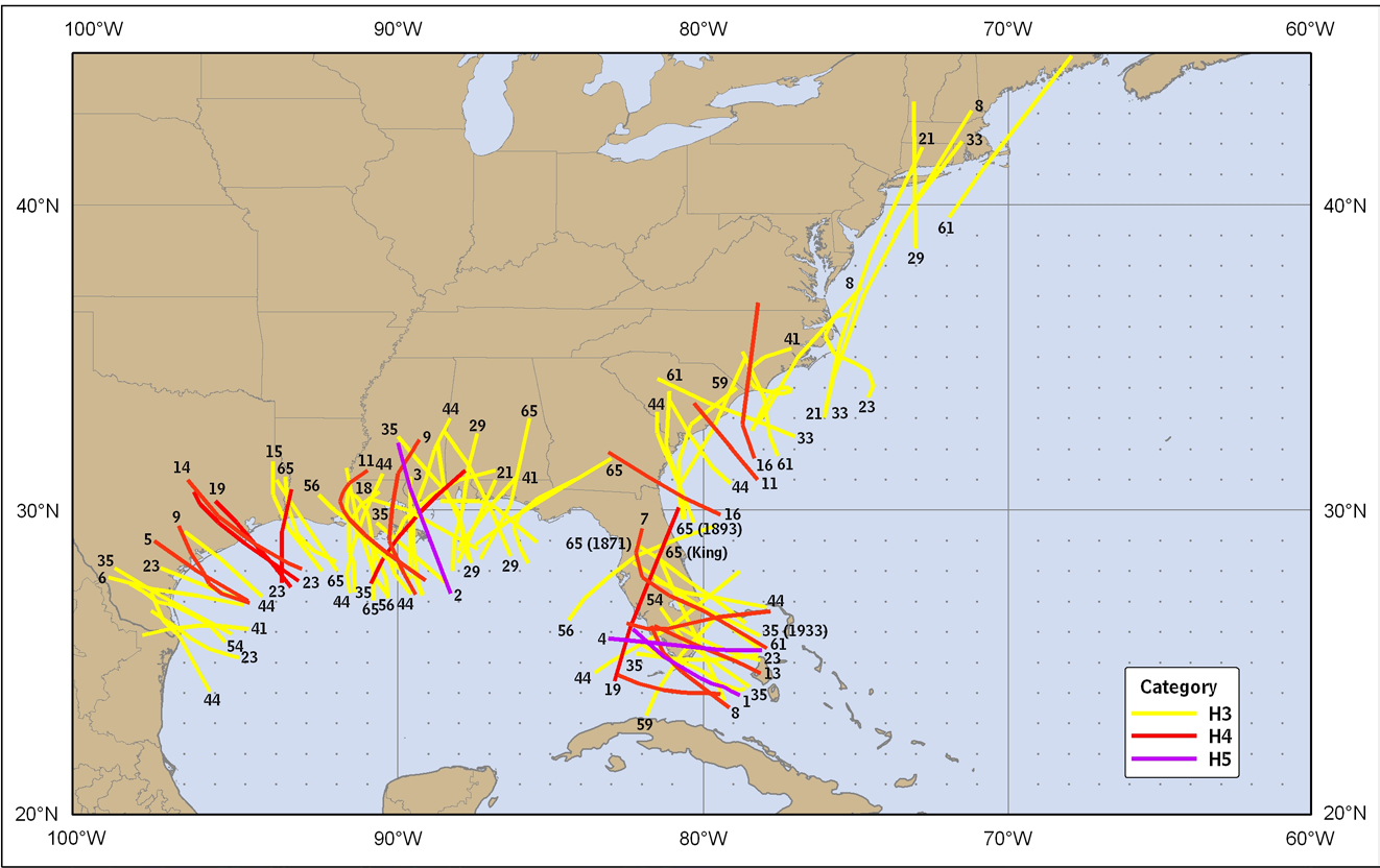 Figure 4. The most intense United States major hurricanes, ranked by pressure at landfall, 1851-2010.