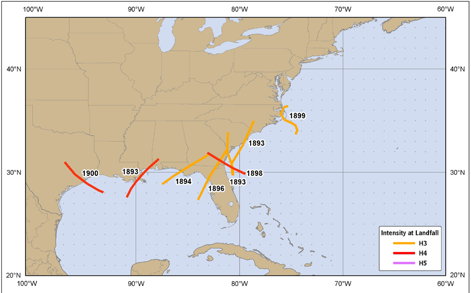 Figure 11. United States major hurricane strikes (category 3 or higher), 1891-1900.