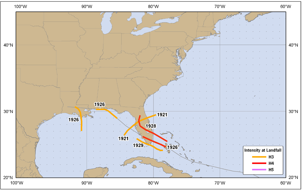 Figure 13. United States major hurricane strikes (category 3 or higher), 1911-1920.