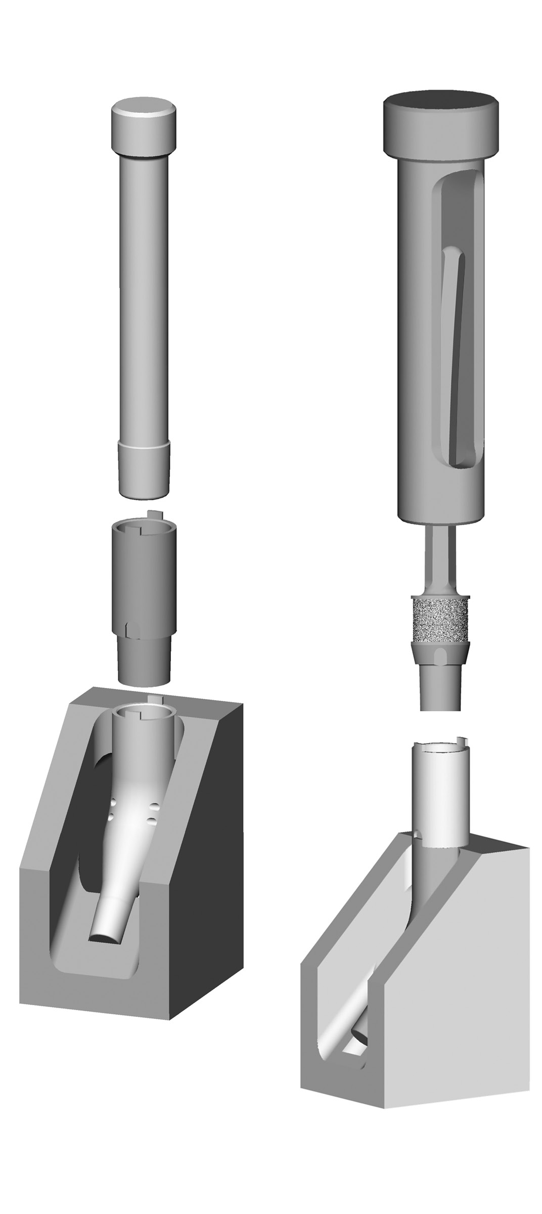 Zimmer MOST Options System Surgical Technique 43 Bowed Stem Implant Assembly Assemble the selected segment to the Basic Proximal Femur using the Impacting Stand (or the Proximal Femur with Tissue