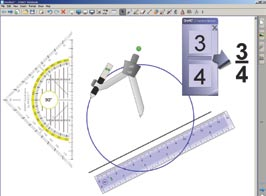 Subject tools IWB software contains a number of tools that lend themselves particularly well to specific subjects. This example shows a range of interactive tools for Mathematics.
