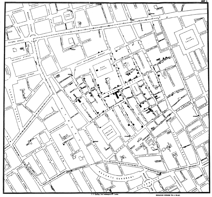 5. London Cholera Map John Snow 1854. London. Cholera strikes. In just 10 days, over 500 people have been killed in one neighborhood.