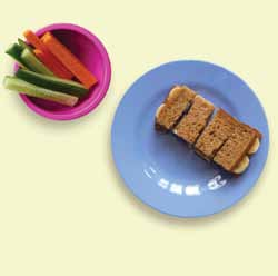 Peanut butter and banana sandwiches, with carrot and cucumber SUGGESTED PORTION SIZES Adult / teenager aged 12-18 Price guide (at 2014 prices) = less than 50p per portion 8 slices wholemeal bread 4