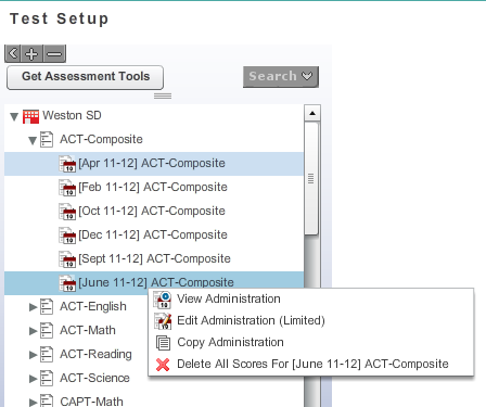 Select Test Setup from the Setup Dashboard. This will show all assessments, including those that do not yet have scores uploaded.