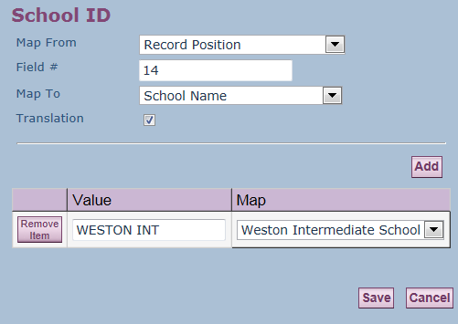 When you select the School ID link, make sure the translation box is checked in