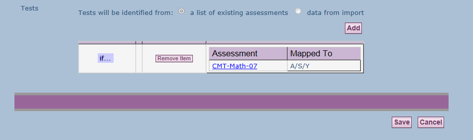 If using an existing format, you will need to remove the existing item and then add a new test identified from the list of existing assessments and/or change the default year and test session.