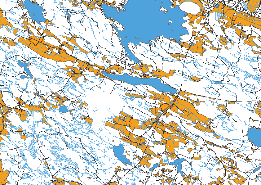 Nuutajärvi Figure 10. Location of the ditches that were selected for the Ferix dosing tests in the lake Nuutajärvi area.