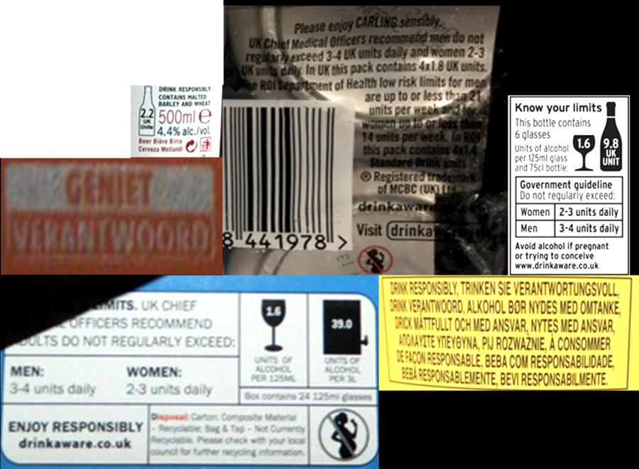 Figure 18: Examples of variation in the message Drinking in moderation Some take the form of official government health warnings or guidelines: the Chief Medical Officers recommends that adults do