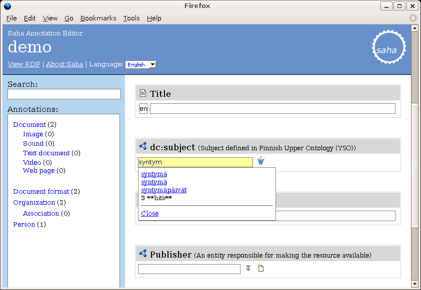 Another ONKI feature is the concept browser, which can be integrated to an application as an ONKI button.