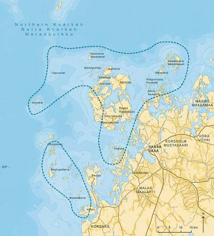 Kvarken Archipelago with numbers Area 194 400 ha, 85 % sea area Coast line 2416 km Number of islands and islets 5600 Inhabitants 2500 Water depth 10 15 m, deepest course 25 metres near Holmö Island