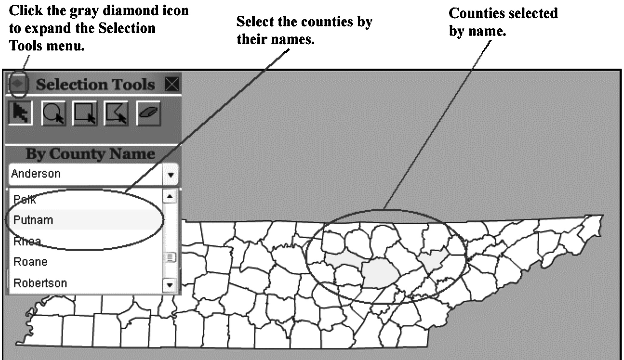 counties selected by any of the selection tools. Figure 9.