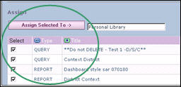 The Report Library displays. 2. Select the reports or queries you want to add to the selected folder. 3. Click. The reports and/or queries are assigned to the folder.