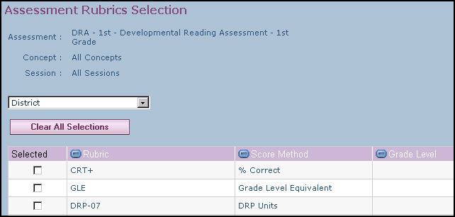 A list of all rubrics associated with the selected profile displays. 3. Select the rubric you want to associate with the assessment, then click Save. Notice that the rubric you selected displays.