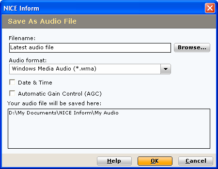 Save Audio Saves each selected audio recording from within the Timeline display / Results Table as one file.