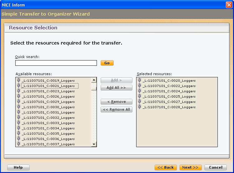 Data Source - expand the associated tree and select the required data source to search against. If you are searching against a Loggers only data source, select the logger from the Loggers table.